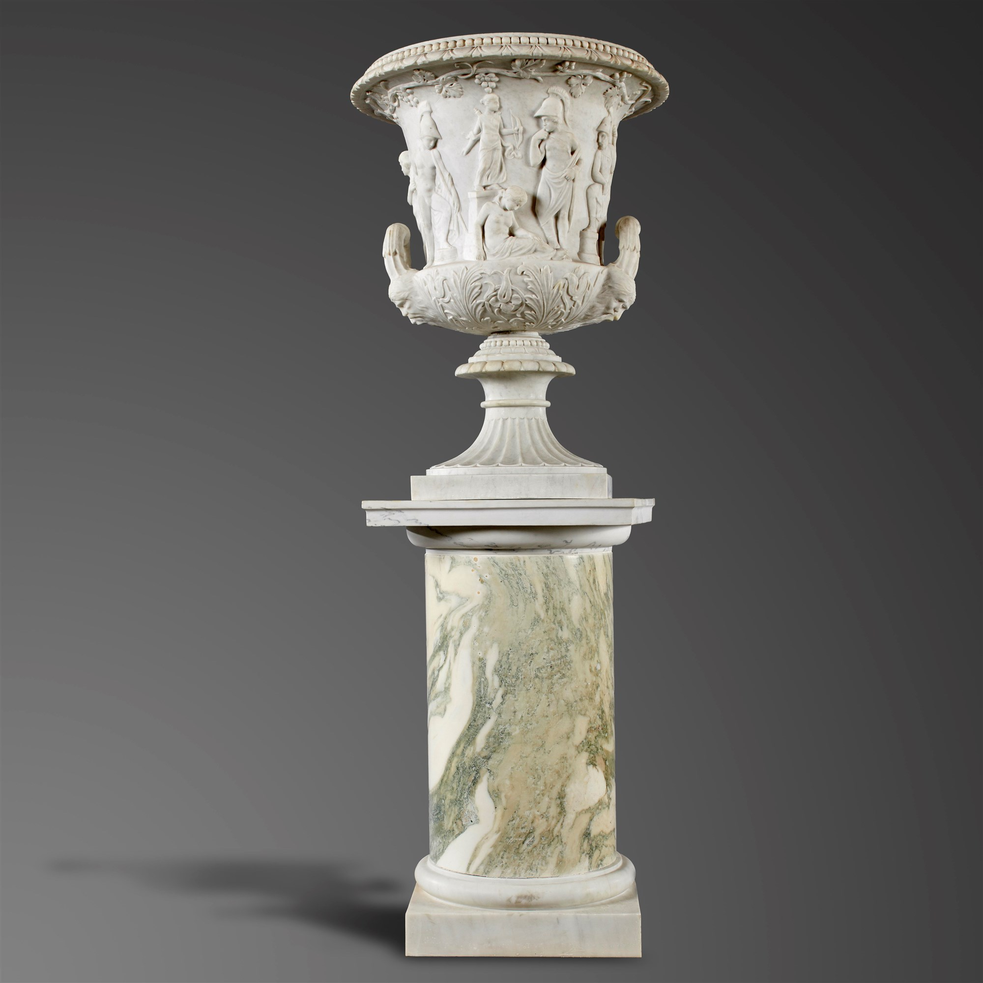 Lott 21; A carved white marble Medici Urn