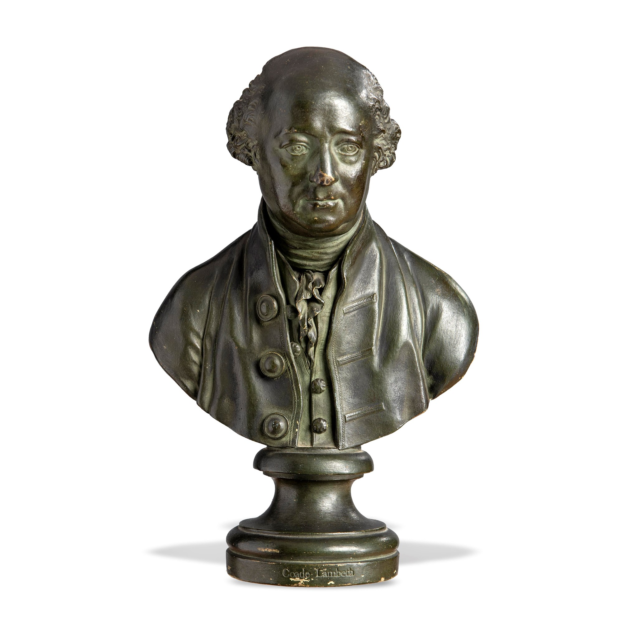 Lot 90 March - A probably unique Coade stone bust of Gerard de Visme, signed and dated 1793.